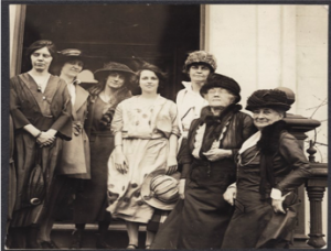 Sophie Meredith (2nd from right) with Alice Paul (left) and National Woman's Party members in DC.