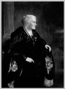 Dr. Kate Waller Barrett (1857 – 1925), wearing her Medal of Freedom and her American Legion pin. c. 1919.